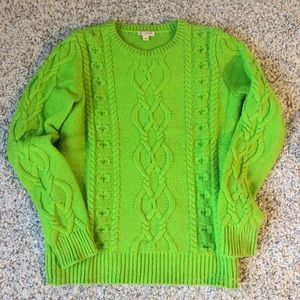 Bright green cable knit sweater